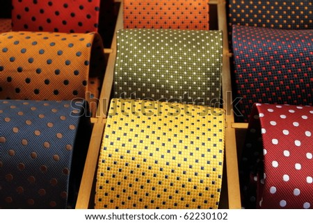 italian silk ties in shop window