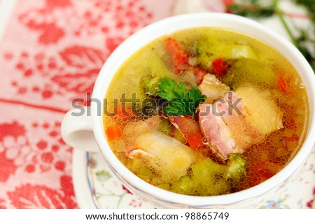 Italian soup with vegetables and bacon