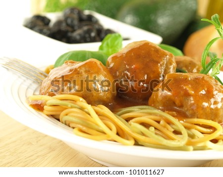 Italian spaghetti with delicious meatballs