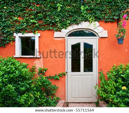 Italian style door, on ivy wall