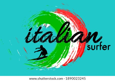 Italian Surfer Cyan Color Background
