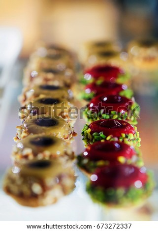 Italian sweet desserts at restaurant in Florence, Tuscany, Italy #673272337