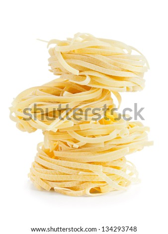italian tagliatelle isolated on white background