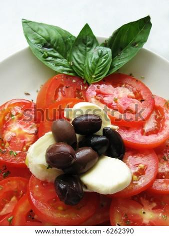 italian tomato mozarella close up - stock photo