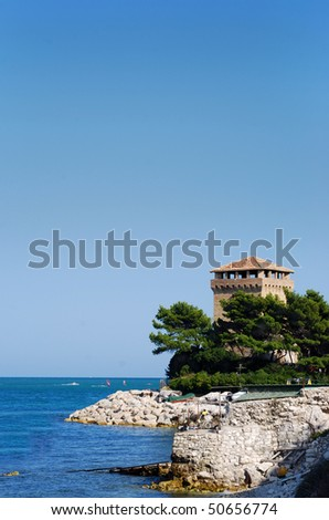 Italian Tower on the Adriatic coast, Portonovo, Ancona.