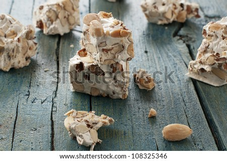 Italian Traditional sweet nougat with nut