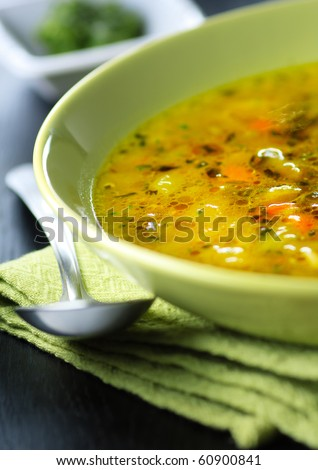 Italian vegetable soup,minestrone,shallow focus