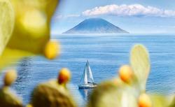 Italy, Aeolian Islands. View of Stromboli from Salina.