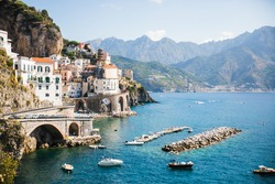 Italy Amalfi Coast in sunshine - sea view and city skyline