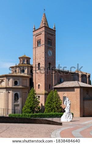 Italy, Asciano,  Abbey of Santa Maria of Monte Oliveto Maggiore, external view Photo stock ©