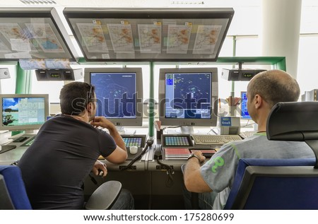 Italy, Bari, International airport, flight control tower, flight controllers working