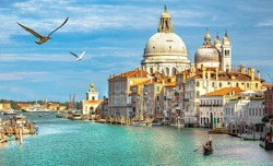 Italy beauty, cathedral Santa Maria della Salute and gondola on Grand canal in Venice , seagulls, Venezia
