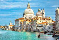 Italy beauty, cathedral Santa Maria della Salute and gondola on Grand canal in Venice , Venezia