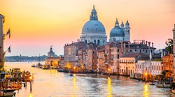 Italy beauty, cathedral Santa Maria della Salute on Grand canal in Venice , Venezia
