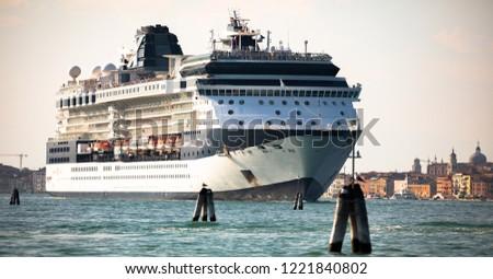 Italy beauty, gigantic cruise ship leaving Venice , Venezia