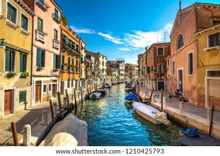 Italy beauty, typical canal street in Venice , Venezia #1210425793