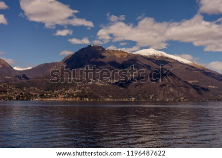 Italy, Bellagio, Lake Como, SCENIC VIEW OF SNOWCAPPED MOUNTAINS AGAINST BLUE SKY, Lombardy #1196487622