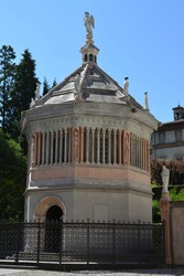 ITALY, BERGAMO: The octagonal baptistery, constructed in 1340 by Giovanni da Campione for the Basilica of Santa Maria Maggiore in the medieval upper city
