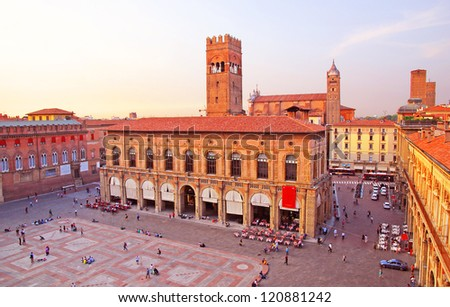 Italy, Bologna main square and King Enzo palace