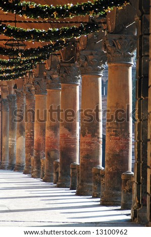 Italy, Bologna portico at holiday season