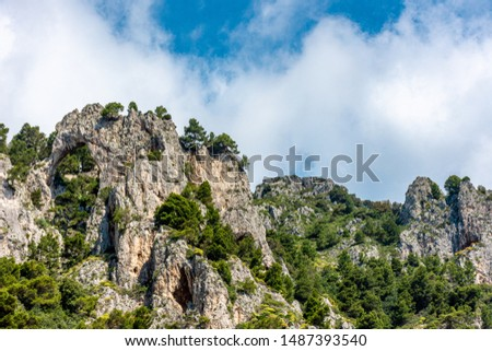 Italy, Capri, view of the coast seen from the sea. #1487393540
