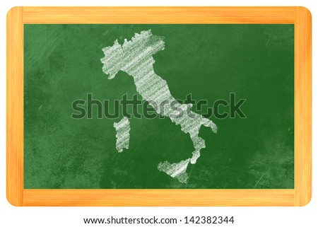 italy chalk drawn on a blackboard