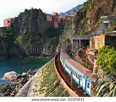 Italy. Cinque Terre. Train at station Manarola