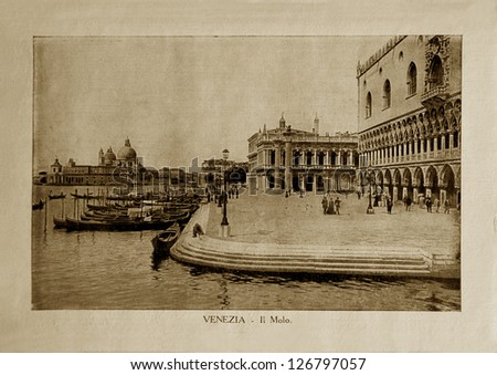 """ITALY - CIRCA 1910: A picture printed in Italy shows image of  embankments in Venice, Vintage postcards """"Italy"""" series, circa 1910 - stock photo"""