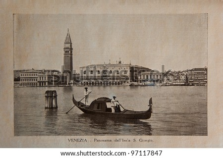 """ITALY - CIRCA 1910: A picture printed in Italy shows image of Venice panoramic view with gondola boat, Vintage postcards """"Italy"""" series, circa 1910"""