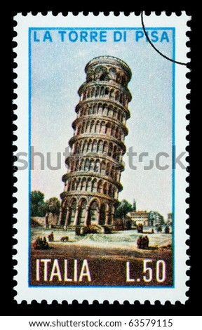 ITALY - CIRCA 1970: A postage stamp printed in Italy showing the Tower of Pisa, circa 1970