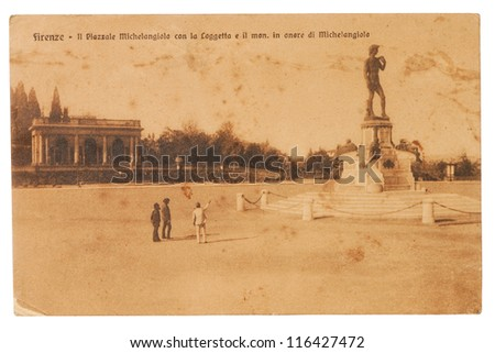 ITALY - CIRCA 1905: A postcard printed in Italy shows image of a David Statue at Piazzale Michelangelo (Michelangelo Square. series, circa 1905.