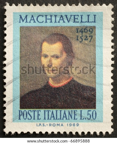 ITALY - CIRCA 1969: a stamp printed in Italy celebrates the fifth centenary of Nicolò Machiavelli's birth, the famous italian political philosopher. Italy, circa 1969 - stock photo