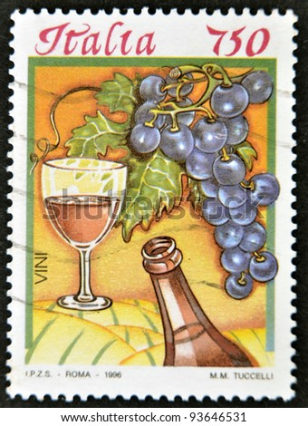 ITALY - CIRCA 1996: A stamp printed in Italy dedicated to wine, circa 1996