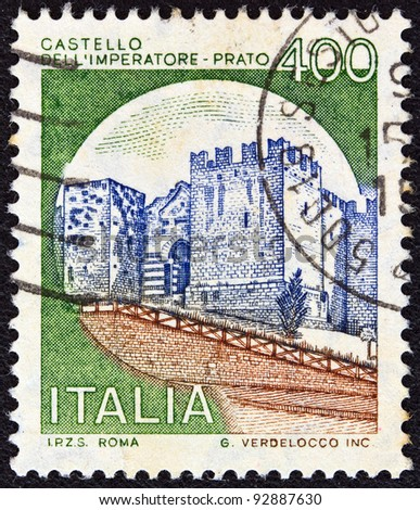 "ITALY - CIRCA 1980: A stamp printed in Italy from the ""Castles"" issue shows Emperor's Castle, Prato, circa 1980."