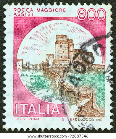"ITALY - CIRCA 1980: A stamp printed in Italy from the ""Castles"" issue shows Rocca Maggiore, Assisi, circa 1980."