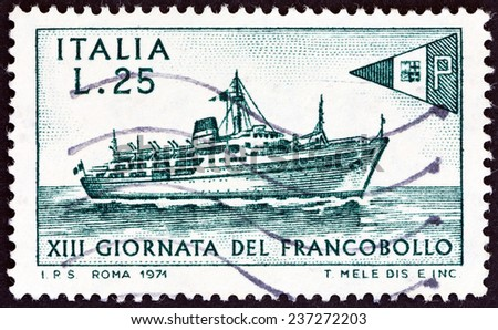 """ITALY - CIRCA 1971: A stamp printed in Italy from the """" Stamp Day """" issue shows Liner Tirrenia, circa 1971."""