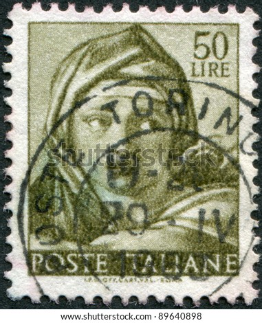 ITALY - CIRCA 1961: A stamp printed in Italy, shows Designs from Sistine Chapel by Michelangelo, Delphic Sybil, circa 1961