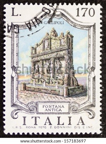 ITALY - CIRCA 1976: a stamp printed in Italy shows Fontana Antica (Old Fountain), the oldest fountain in Italy, built in the third century b.C. in Gallipoli. Apulia region. Italy, circa 1976