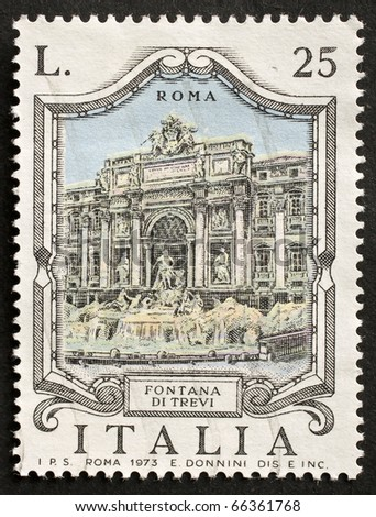 ITALY - CIRCA 1973: a stamp printed in Italy shows illustration of Fontana di Trevi, the famous landmark in Rome. Italy, circa 1973