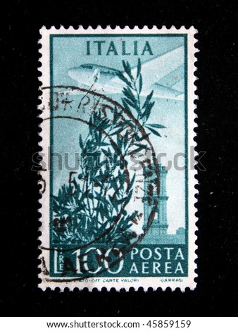 ITALY - CIRCA 1951: A stamp printed in Italy shows image of an aeroplane, series, circa 1951