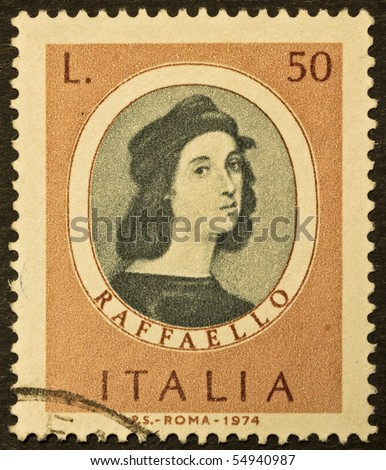 ITALY - CIRCA 1974: A stamp printed in Italy shows image of Raphael, famous italian painter of the high renaissance. Italy, circa 1974