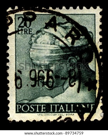 ITALY-CIRCA 1961:A stamp printed in Italy shows image of The Libyan Sibyl, named Phemonoe, was the prophetic priestess presiding over the Zeus Ammon Oracle at Siwa Oasis, circa 1961.