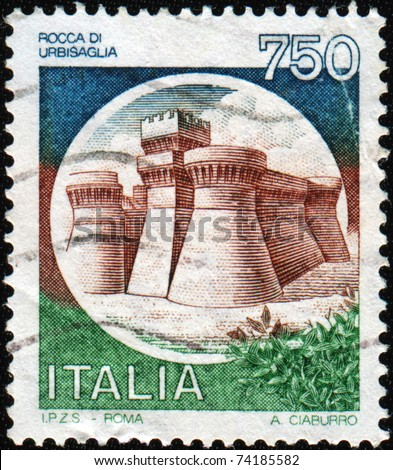 ITALY - CIRCA 1990: A stamp printed in Italy shows image of the Rock of Urbisaglia, series, circa 1990