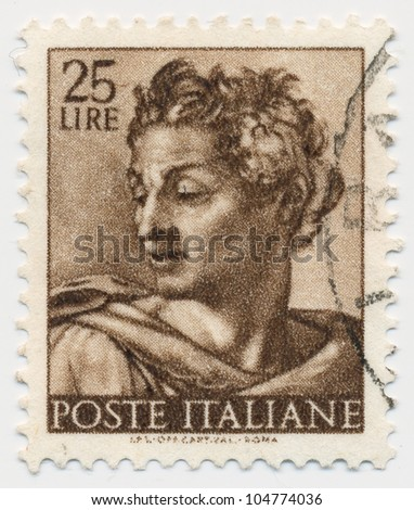 ITALY - CIRCA 1961: A stamp printed in Italy, shows Isaiah, Designs from Sistine Chapel by Michelangelo, circa 1961