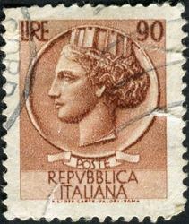 ITALY - CIRCA 1952: A stamp printed in Italy shows Italia Turrita