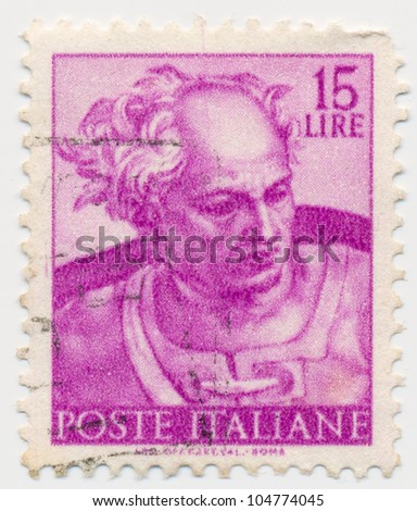 ITALY - CIRCA 1961: A stamp printed in Italy, shows Libyan Sybil, Designs from Sistine Chapel by Michelangelo, circa 1961
