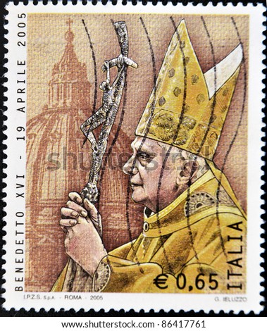 ITALY - CIRCA 2005: A stamp printed in Italy shows Pope Benedict XVI, circa 2005
