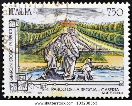 ITALY - CIRCA 1995: A stamp printed in Italy shows  Royal Palace of Caserta, Circa 1995