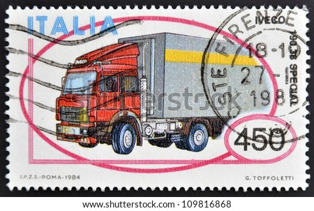 ITALY - CIRCA 1984: A stamp printed in Italy shows truck Iveco 190-38 Special, circa 1984