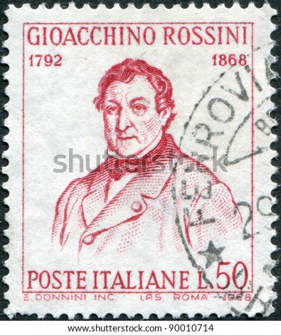 ITALY - CIRCA 1968: A stamp printed in Italy, the 100th anniversary of the death of Gioacchino Rossini, painting by Giuseppe De Sanctis, circa 1968